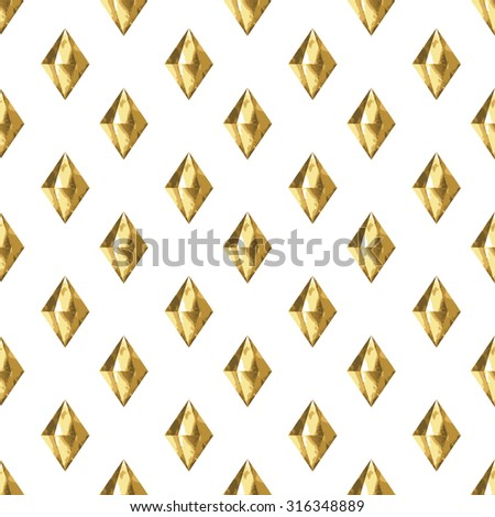 Gold crystals. Gold diamonds. Gold crystals seamless pattern. Golden background. Gold flash tattoo. Modern hipster print. Vector illustration - stock vector