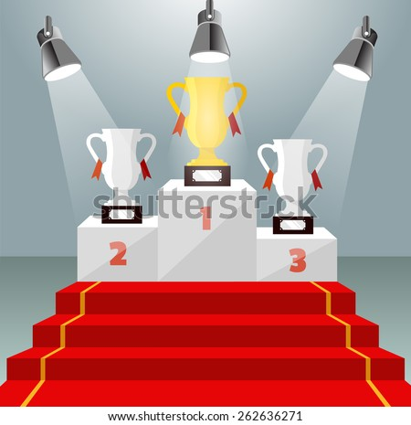 Gold cup. Illuminated winner pedestal with red carpet - stock vector