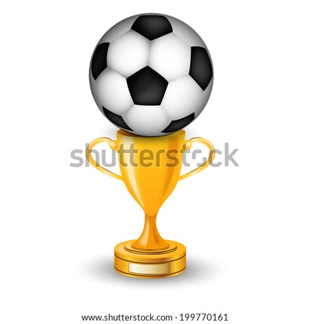 Gold cup winner with soccer ball - stock vector