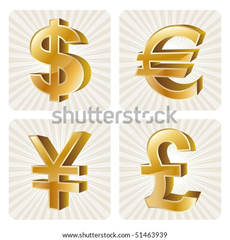 gold currency set - stock vector