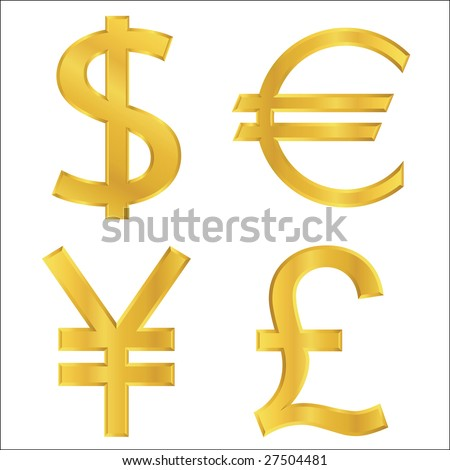 Gold currency symbols - stock vector