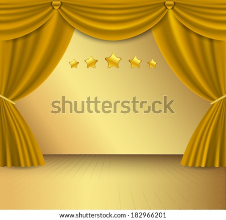 Gold curtain background. - stock vector