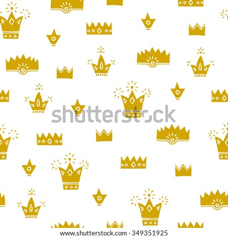Gold cute crowns, white background, hand drawn vector seamless pattern