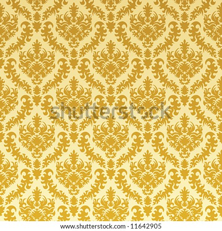Gold damask - stock vector