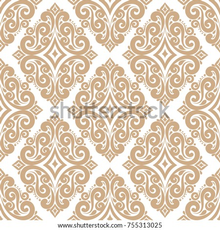 Gold damask vector seamless pattern, wallpaper. Elegant classic texture. Luxury ornament. Royal, Victorian, Baroque elements. Great for fabric and textile, wallpaper, or any desired idea.