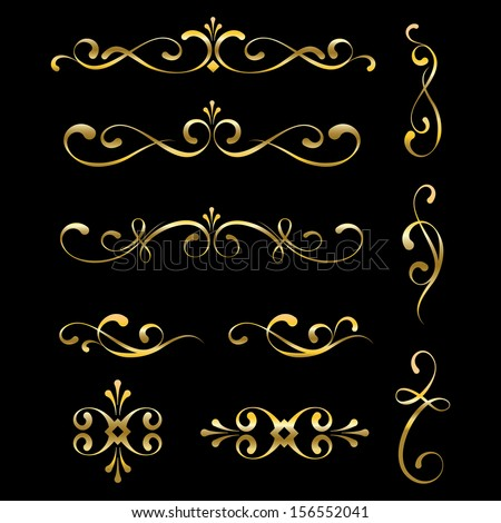 Gold decorative elements and ornaments - stock vector