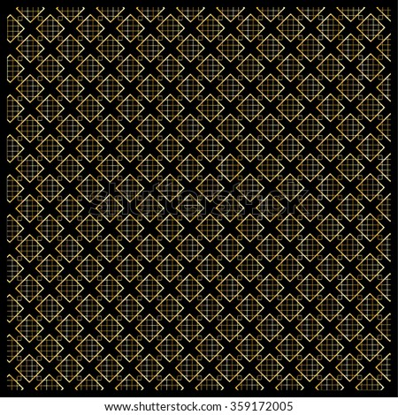 Gold diamond, Checkered pattern. Modern ornament with diamond and gold polka dots on black background. Background pattern with the abstract shapes of diamond ornament. For Fabric design. Vector file