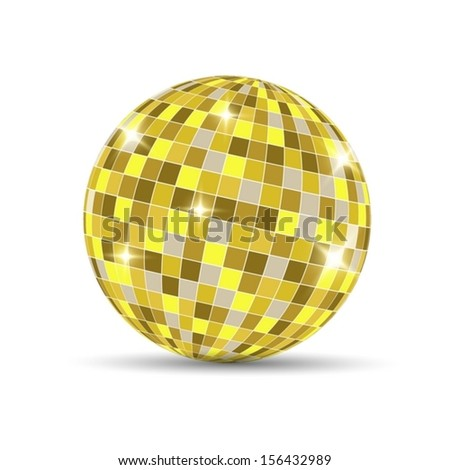 Gold Disco Ball isolated on a white background. Vector EPS 10 illustration. - stock vector