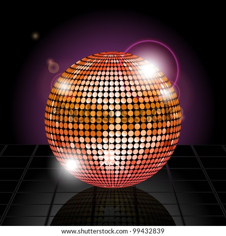 Gold disco ball reflected on a tiled surface against a glowing purple background