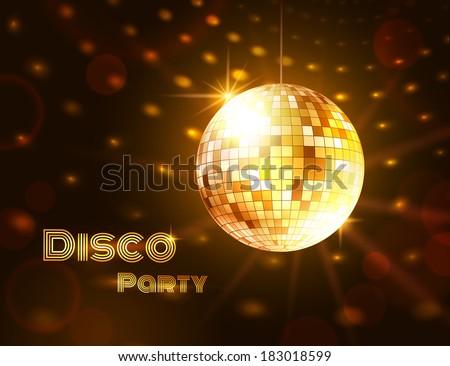 Gold disco ball. Vector illustration.  - stock vector
