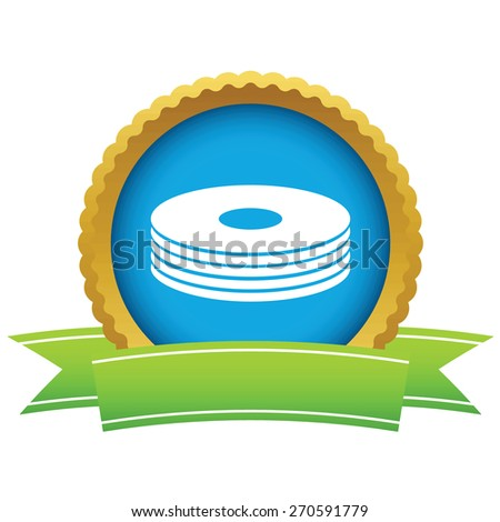 Gold disk logo on a white background. Vector illustration - stock vector