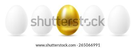 Gold egg among white eggs. - stock vector