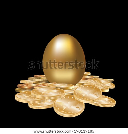 Gold egg in golden coins isolated. Vector illustration - stock vector