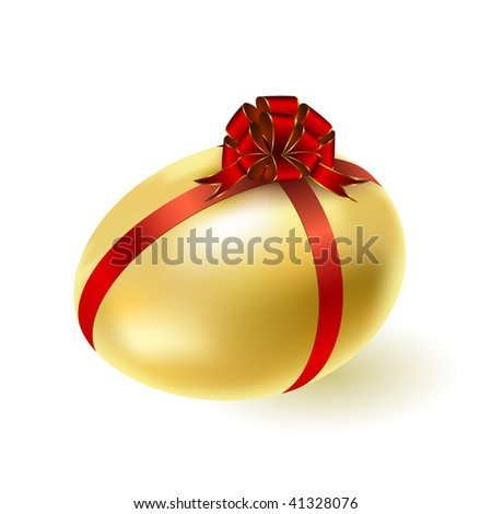 Gold egg with a red bow. Vector.