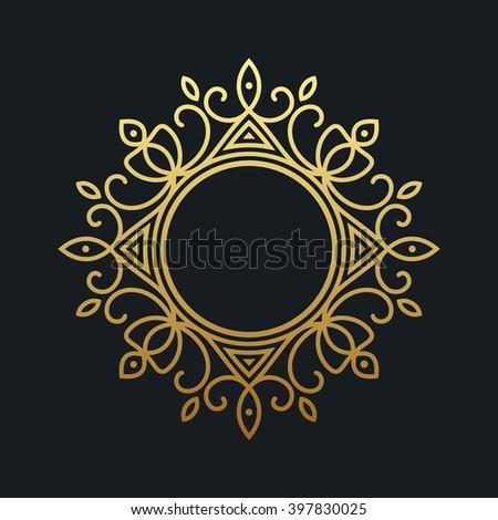 Gold elegant frame. Line art monogram for your design. Vector illustration - stock vector
