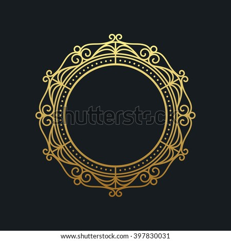 Gold elegant frame. Line art monogram for your design. Vector illustration - stock vector