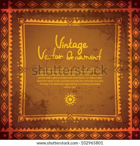 Gold ethnic frame background - stock vector