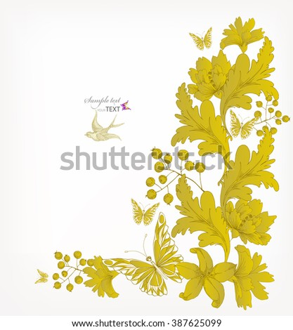 Gold Fantasy  vector background with colorful flowers and butterflies. Abstract floral elements .Floral invitation. - stock vector