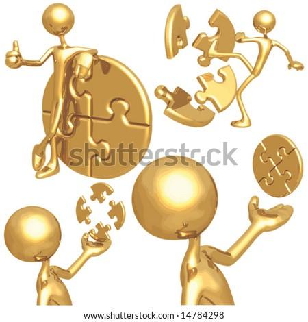 Gold Figures - stock vector