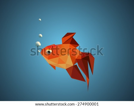 Gold fish. abstract polygon vector illustration - stock vector