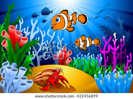 gold fish and starfish on the ocean floor, including coral