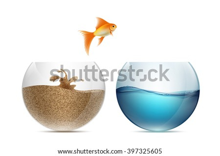 Gold fish jumping out of the aquarium. Aquariums with sand and water. Stock vector illustration. - stock vector