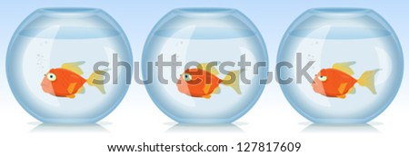 Gold Fish Life And Times In Aquarium/ Illustration of a set of funny scenes with cartoon gold fish living in the aquarium in various emotions or situations - stock vector