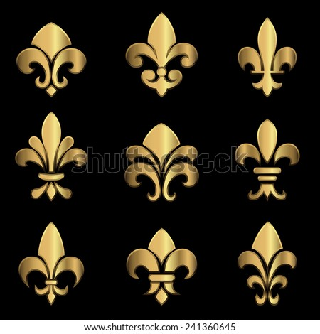 Gold Fleur De Lis - Set of gold Fleur De Lis elements.  Colors in gradients are global, so they can be changed easily.  Each element is grouped individually for easy editing. - stock vector