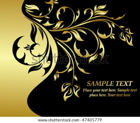 gold floral card - stock vector