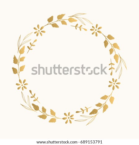 Gold Floral Fancy Frame Vector Isolated