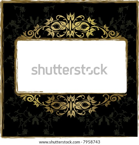 Gold floral frame - stock vector