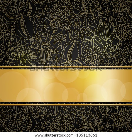 Gold floral pattern on black background with golden ribbon and place for your text. EPS10 transparency and blend mode used - stock vector