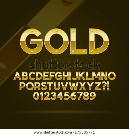 Gold Font and Numbers, Eps 10 Vector, Editable for any Background - stock vector