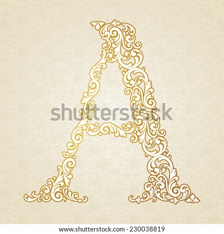Gold font type letter A, uppercase. Vector baroque element of golden vintage alphabet made from curls and floral motifs. Victorian ABC element in vector. - stock vector