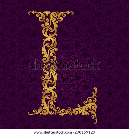 Gold font type letter L, uppercase. Vector baroque element of golden alphabet made from curls and floral motifs. Victorian ABC element in vector. - stock vector