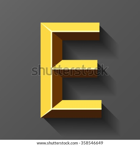 Gold font with bevel, letter E vector - stock vector