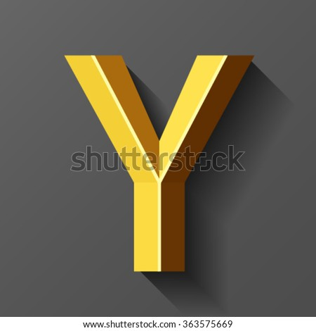 Gold font with bevel, letter Y vector - stock vector