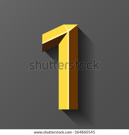 Gold font with bevel, number 1 vector - stock vector
