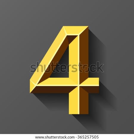 Gold font with bevel, number 4 vector - stock vector