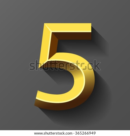 Gold font with bevel, number 5 vector - stock vector