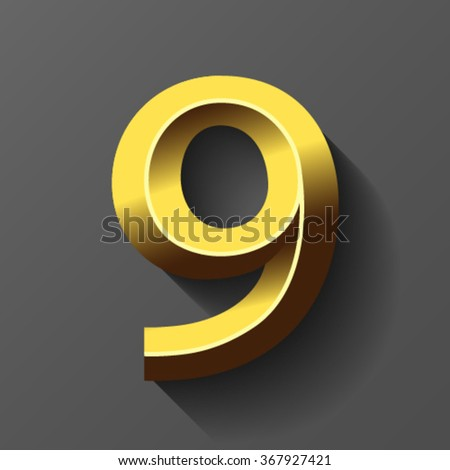 Gold font with bevel, number 9 vector - stock vector