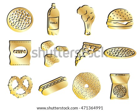 Gold Food and Junkfood Icon Set