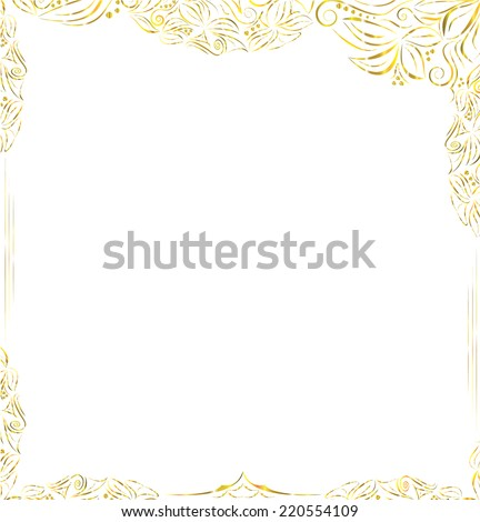 Gold frame  in luxury style - stock vector