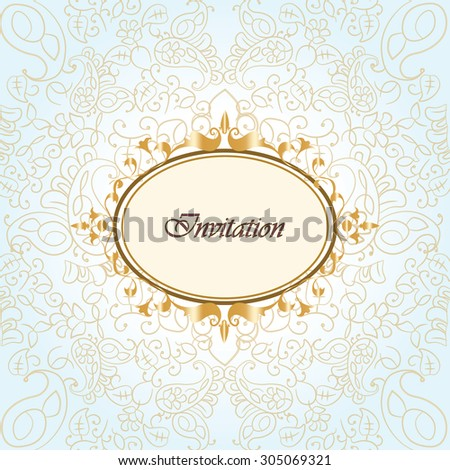 Gold frame invitation with ornaments background. Vector - stock vector