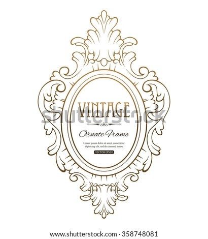 Gold Frame isolated on white backgroun. Decorative vector frame with place for text. Vector EPS 10. - stock vector