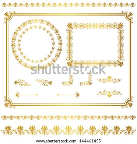 gold frame set - stock vector