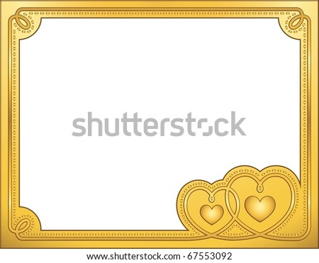 Gold frame, Valentine's vector illustration. EPS8, all parts closed, possibility to edit. - stock vector