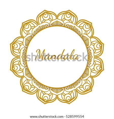 Gold frame vector isolated on white stock vector 528599554 gold frame vector isolated on white background round floral ornament with decorative golden foil junglespirit Images