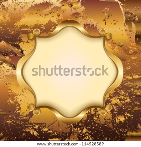 Gold frame with monograms - stock vector