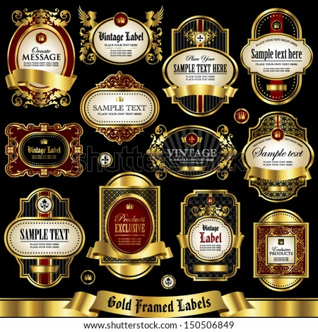 Gold framed labels set 1 - stock vector